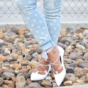 Halogen White Leather Pointy Owen Lace Up Flats